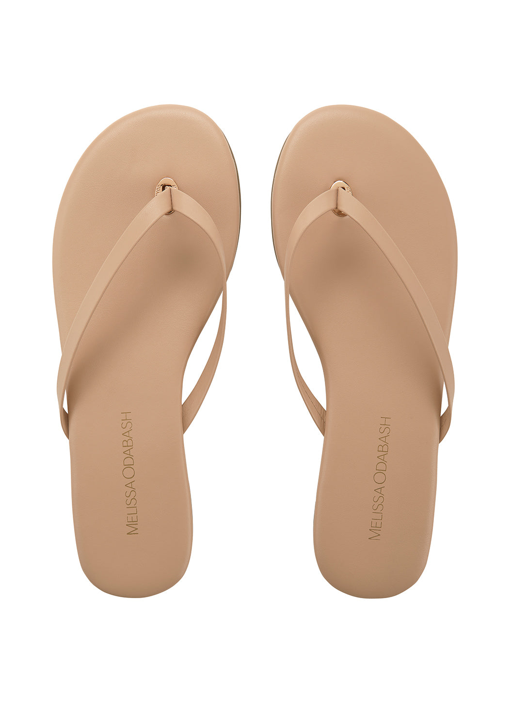 Melissa Odabash Leather Flip Flops Nude - Melissa Odabash Accessories
