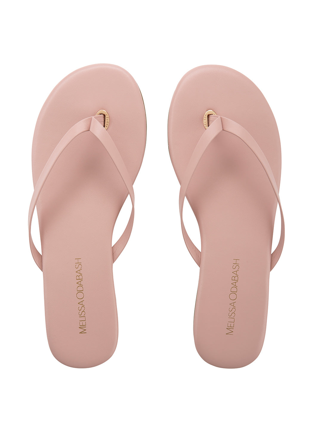Leather Flip Flops Pink  - Melissa Odabash Leather Flip Flops