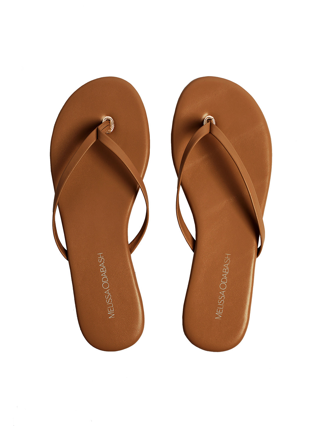 Leather Flip Flops Tan - Melissa Odabash Accessories