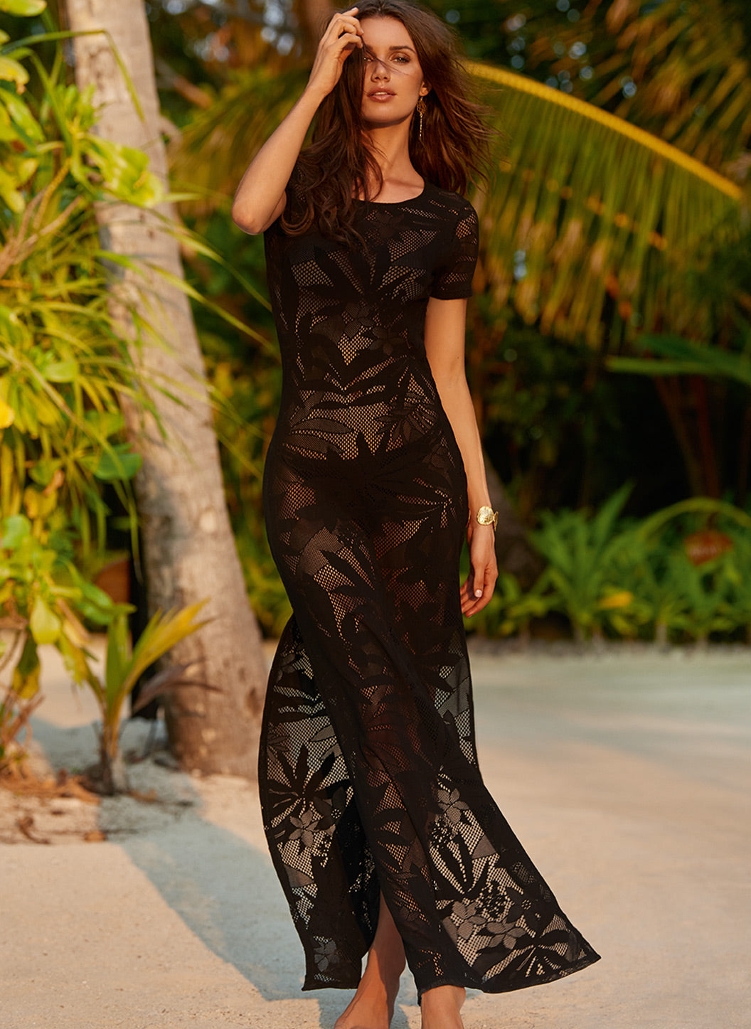 Fran Black Tshirt Maxi Beach Dress