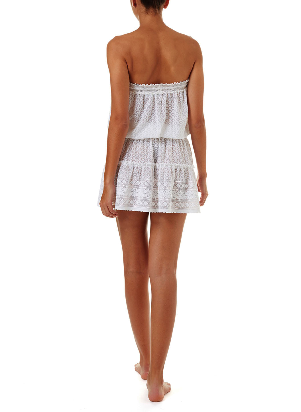 Fru White Textured Bandeau Short Frill Beach Dress