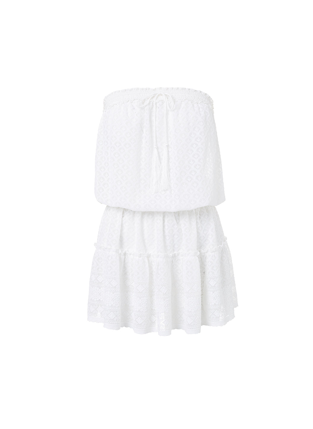 Fru White Textured Bandeau Short Frill Beach Dress - Melissa Odabash Beachwear