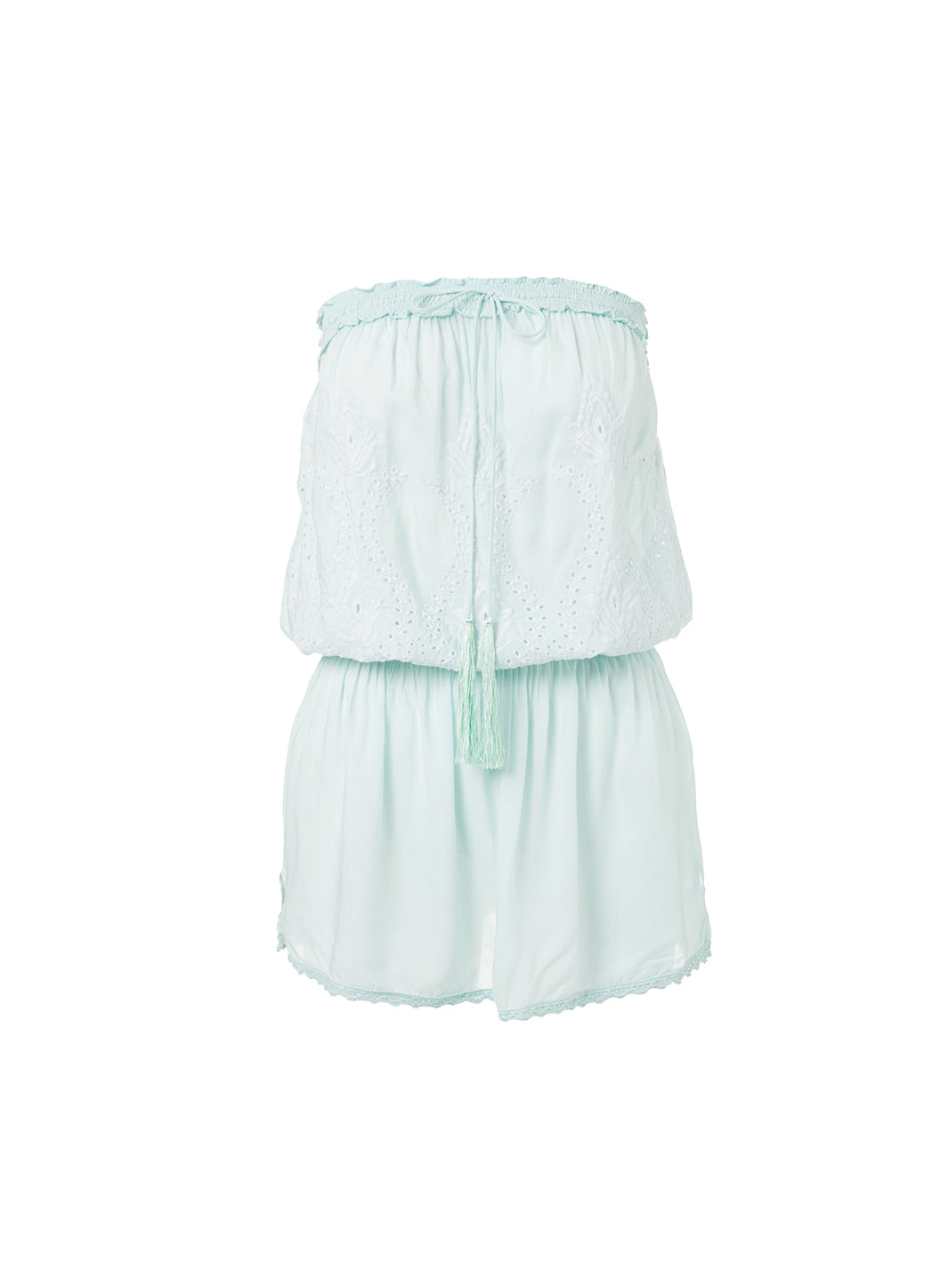 Fruley Mint Bandeau Embroidered Short Beach Dress