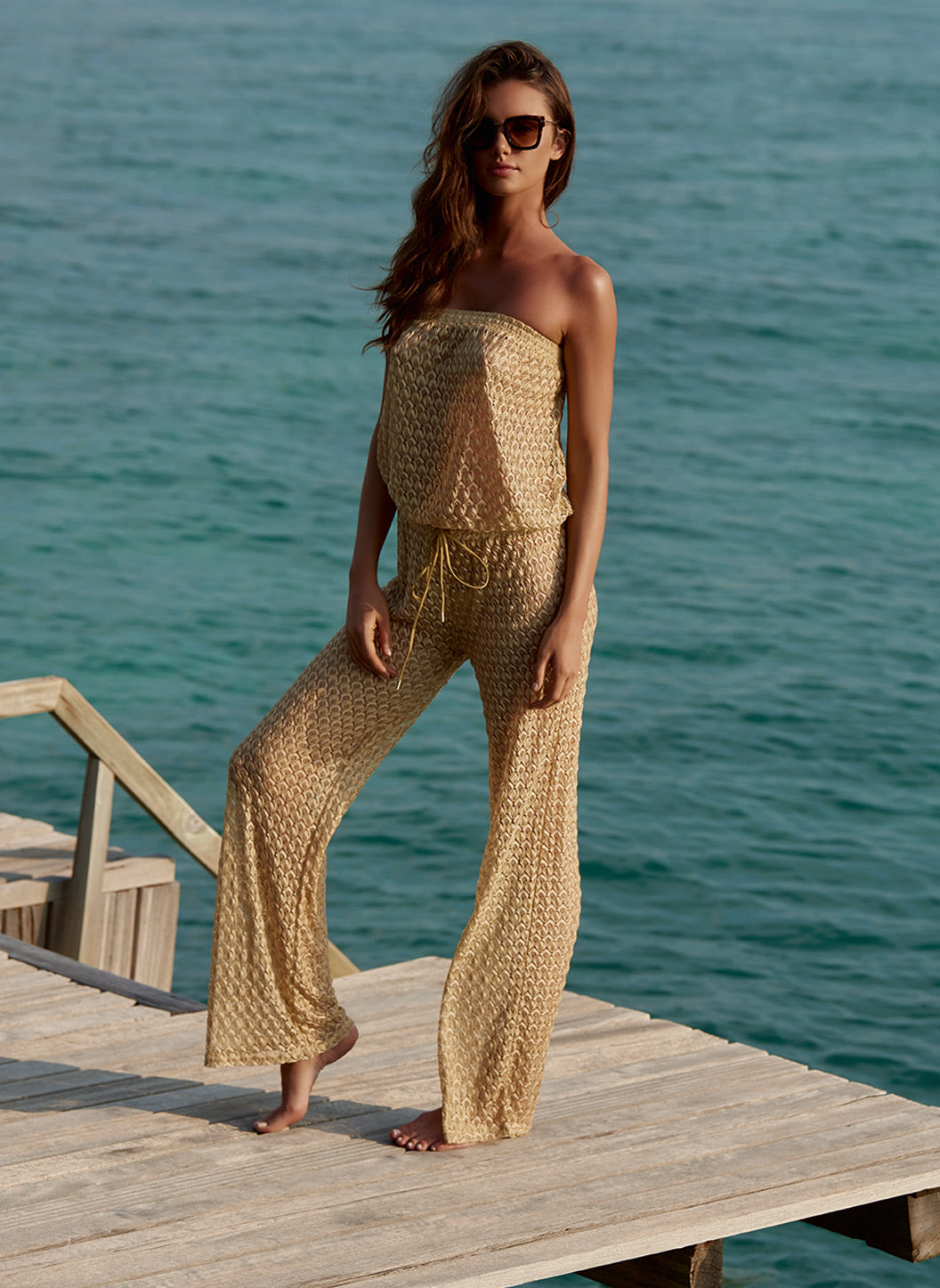 Grace Gold Knit Bandeau Jumpsuit - Melissa Odabash Shorts & Jumpsuits