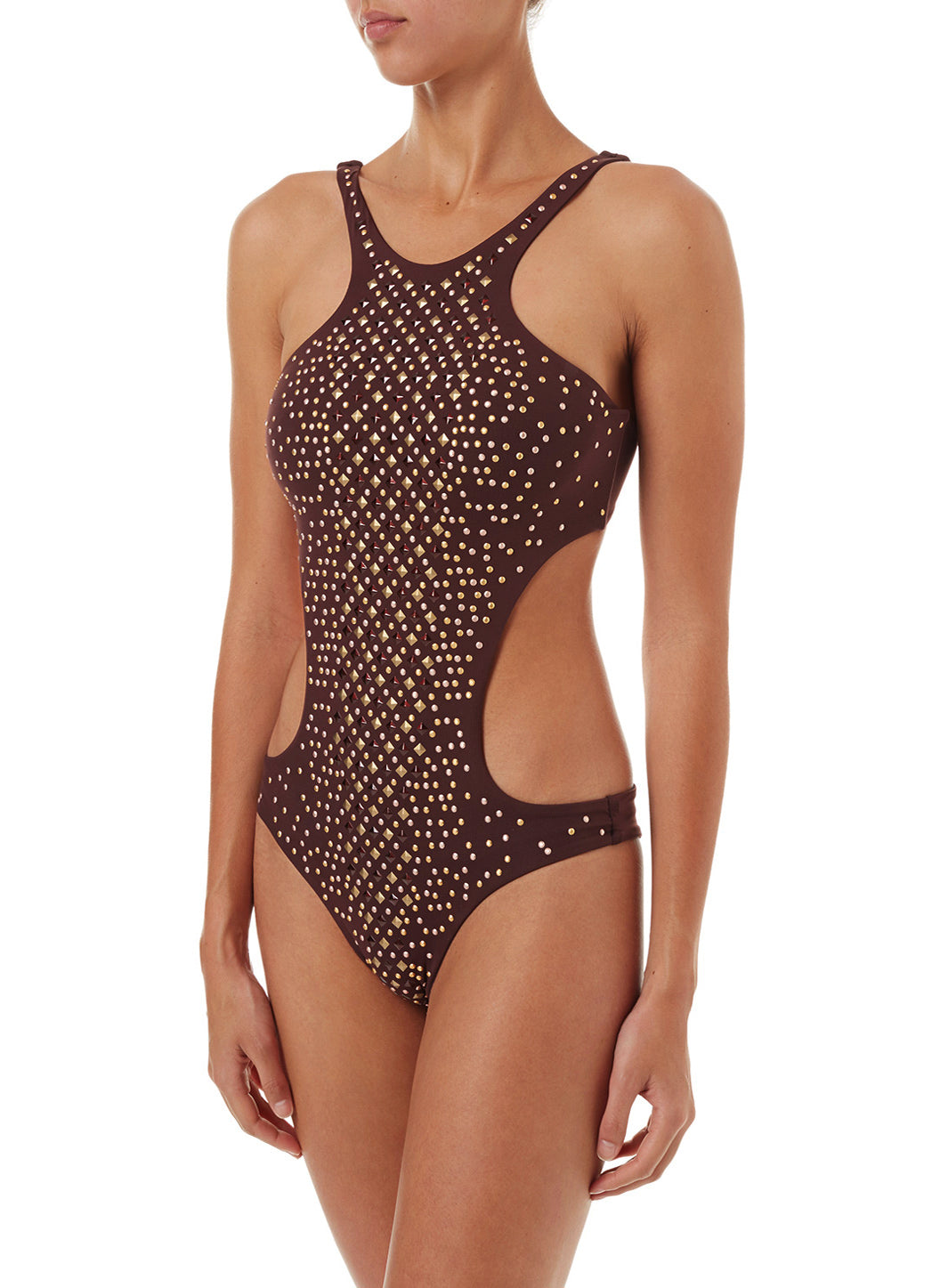 Hollywood Walnut Studded Cut Out Swimsuit