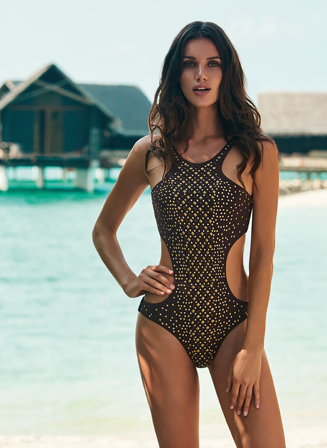Hollywood Walnut Studded Cut Out Swimsuit - Melissa Odabash Swimwear