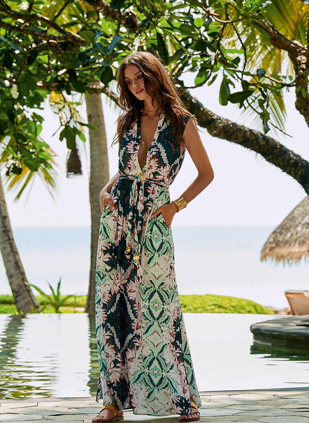 Honey Eden Belted Button-Down Maxi Dress - Melissa Odabash Dresses & Kaftans