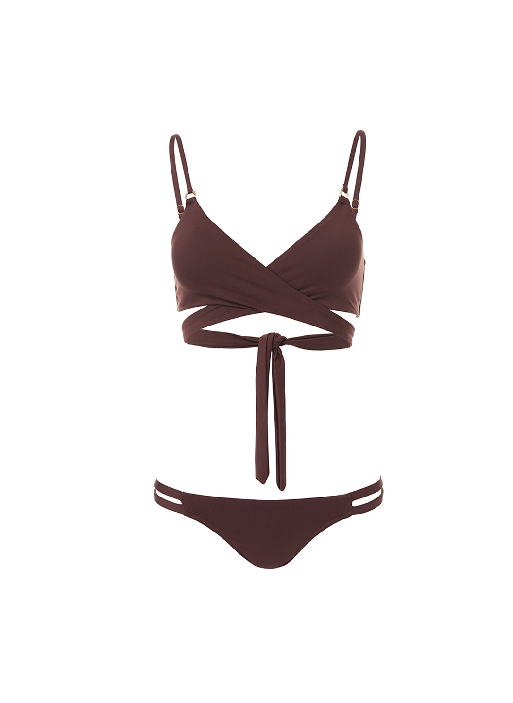 Indonesia Walnut Over The Shoulder Wrap Bikini - Melissa Odabash Swimwear