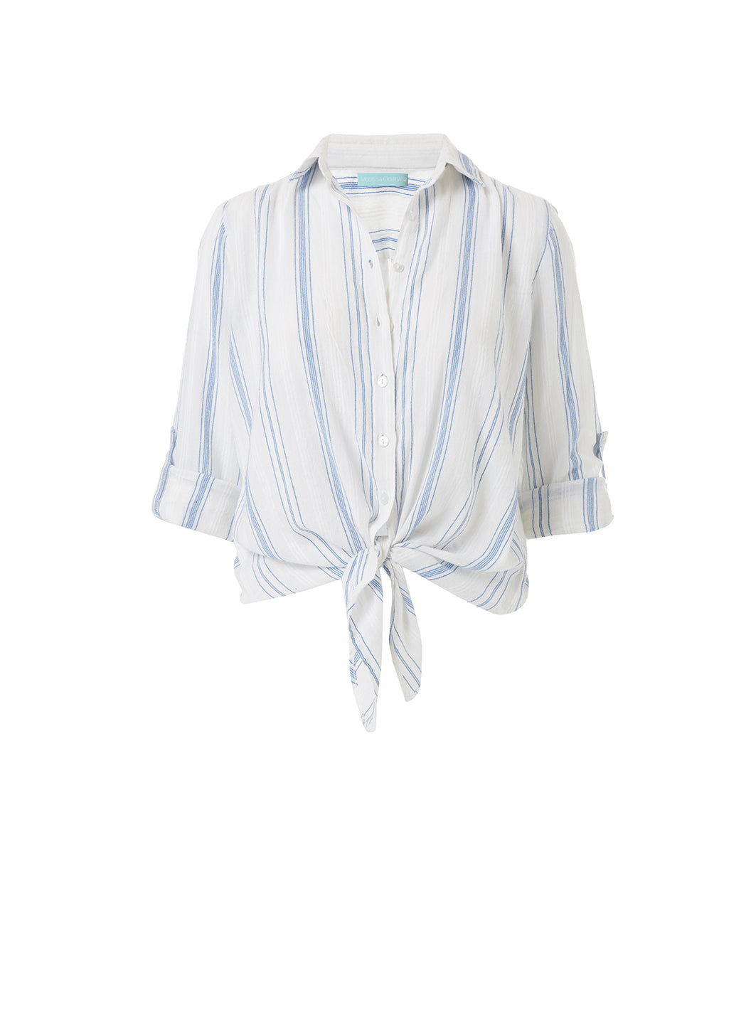 Inny Blue Stripe Cropped Shirt - Melissa Odabash Beachwear