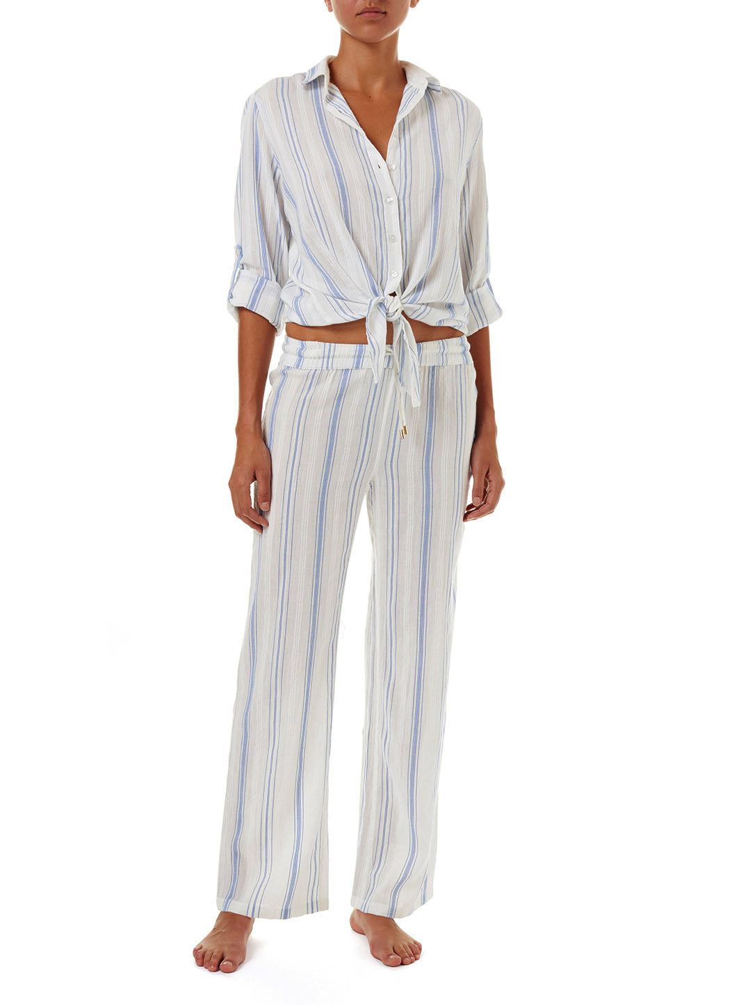 Inny Blue Stripe Cropped Shirt - Melissa Odabash Tops & Bottoms