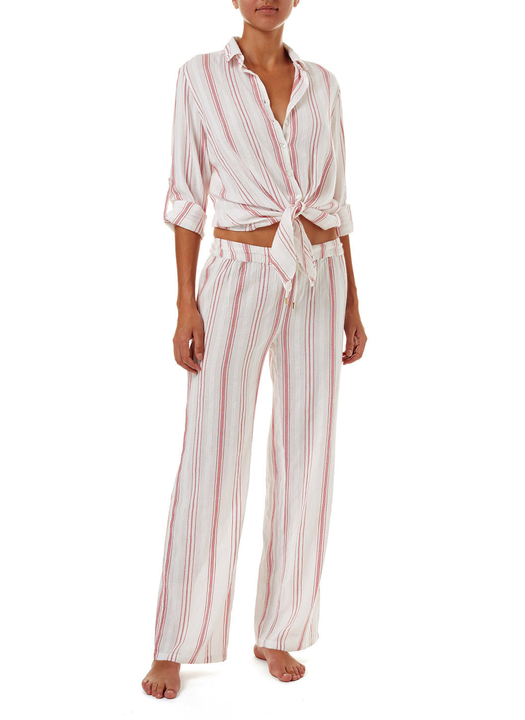 Krissy Red Stripe Straight Leg Trouser - Melissa Odabash Beachwear