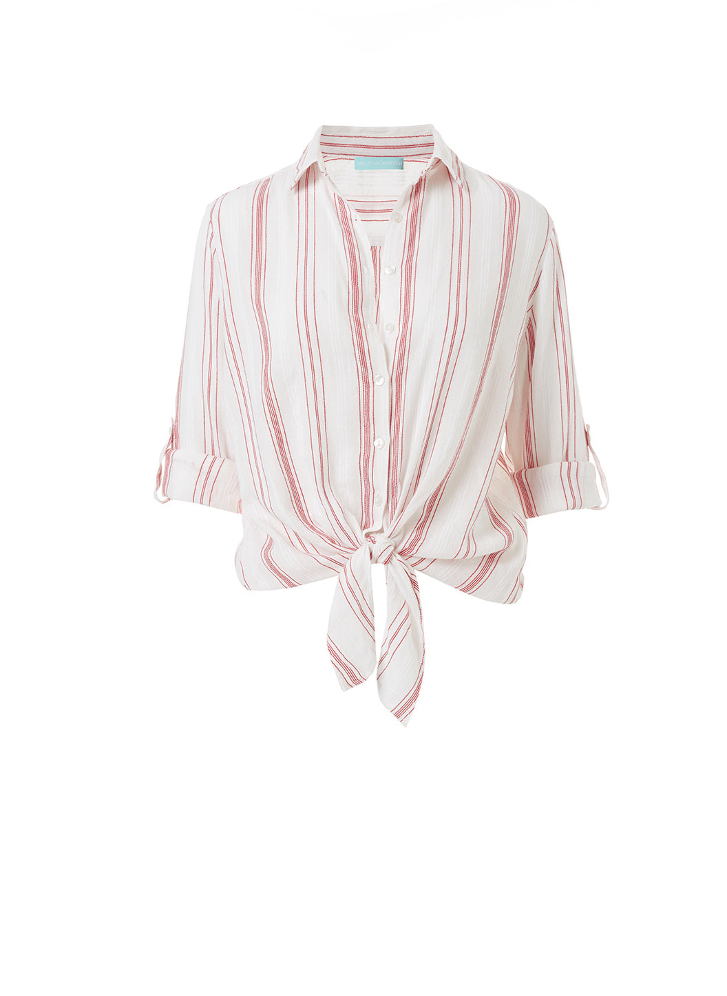 Inny Red Stripe Cropped Shirt - Melissa Odabash Beachwear