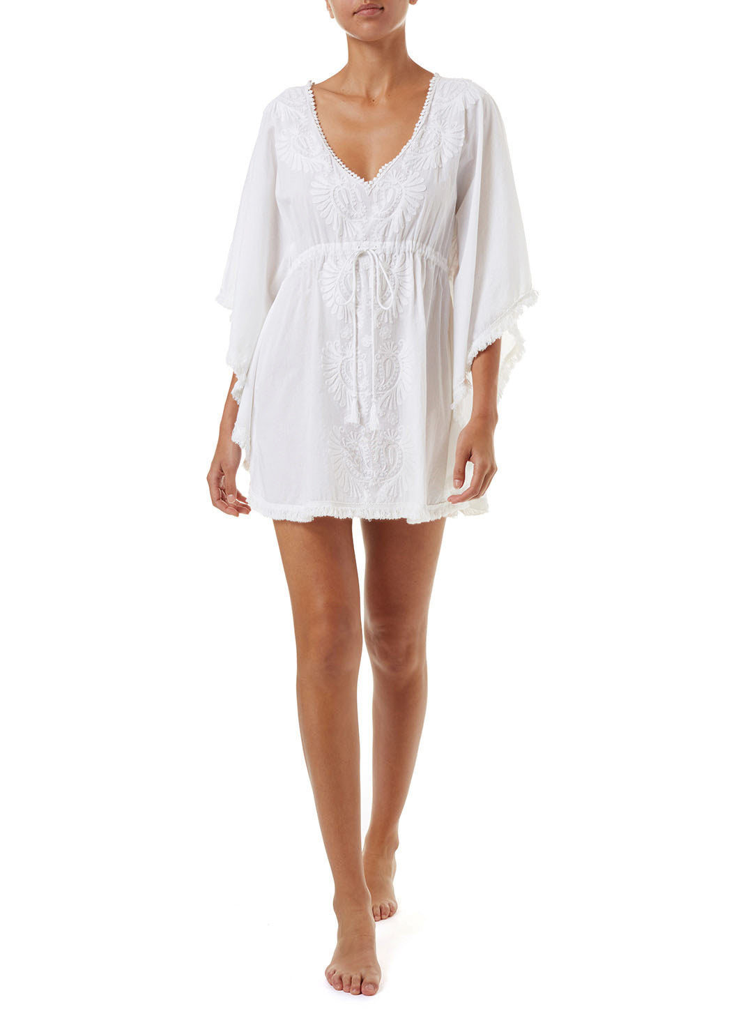 Irene White Embroidered Classic Kaftan