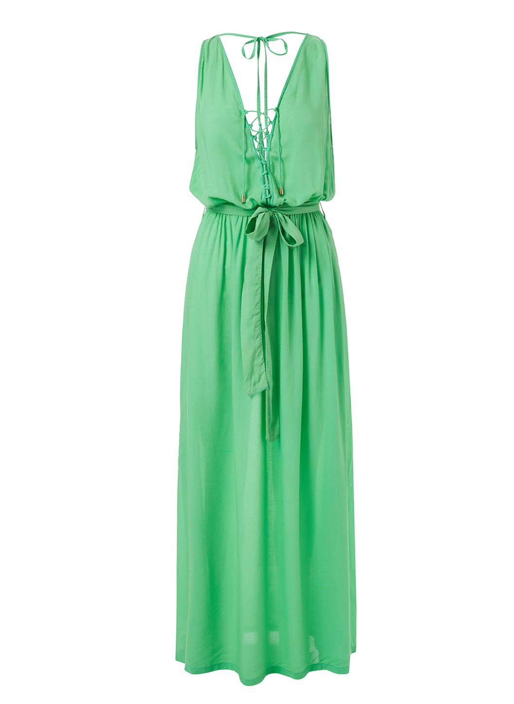 Jacquie Green Lace-Up Belted Maxi Dress - Melissa Odabash Dresses & Kaftans