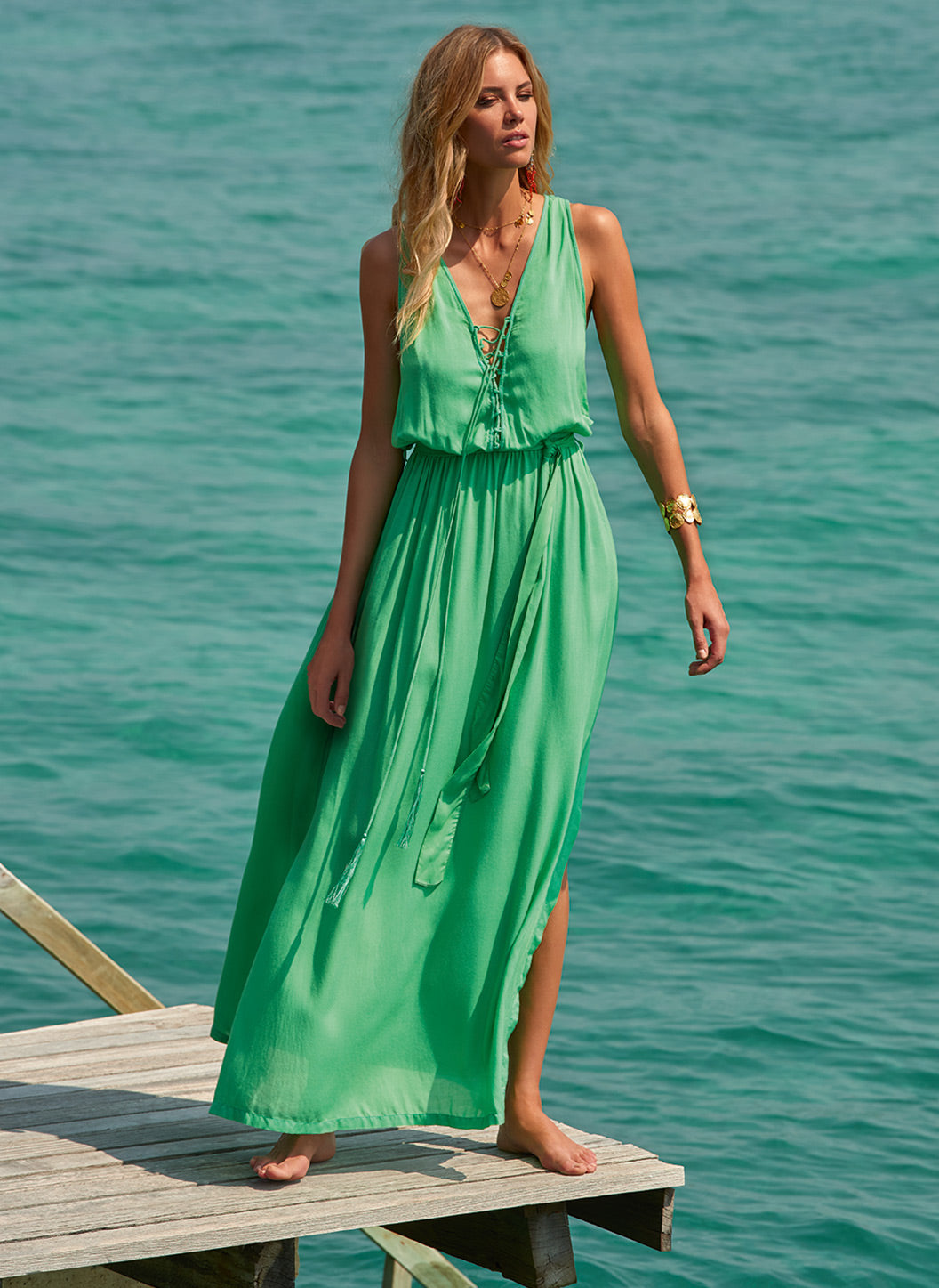 Jacquie Green Lace-Up Belted Maxi Dress