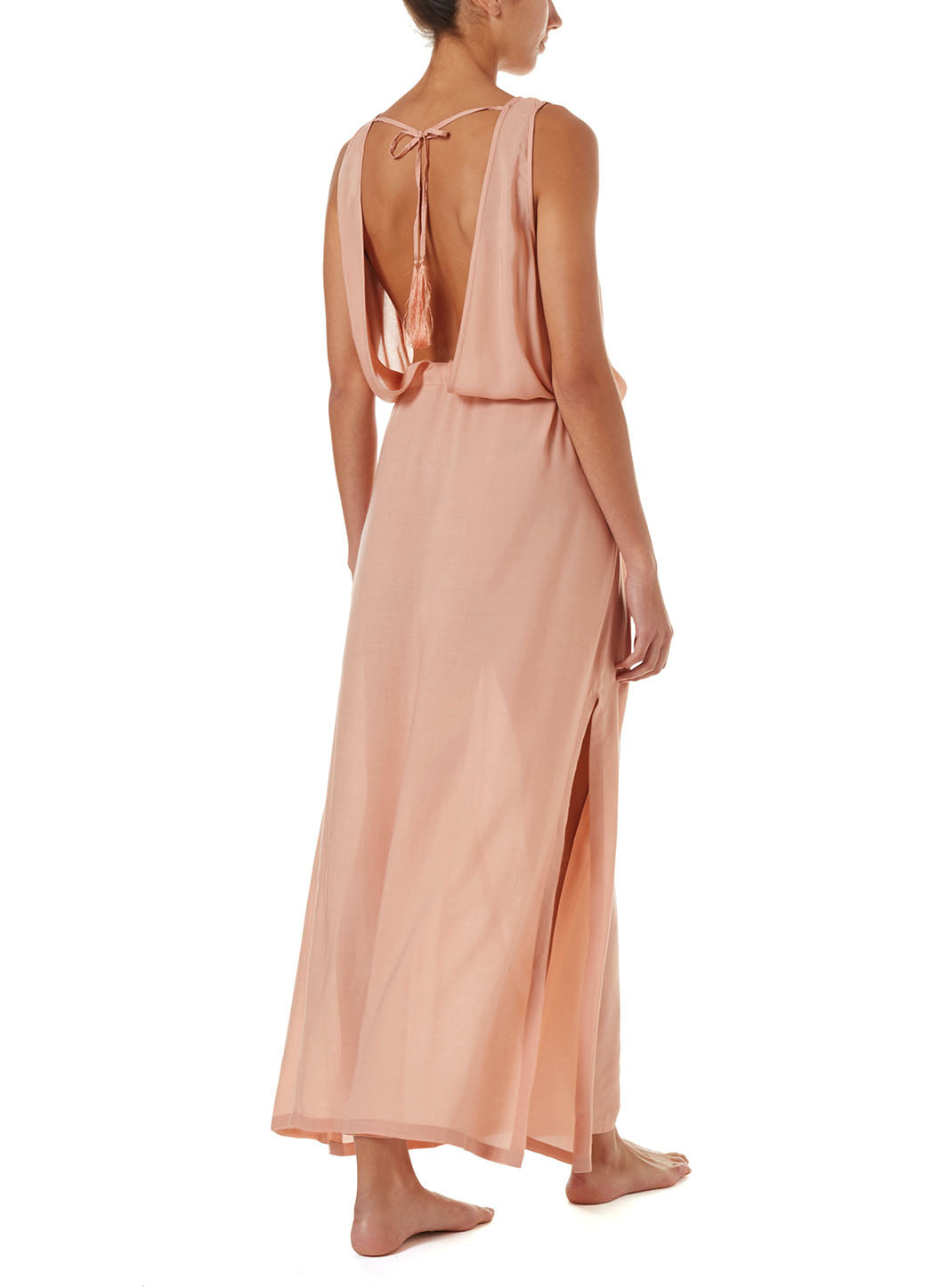 Jacquie Tan Lace-Up Belted Maxi Dress