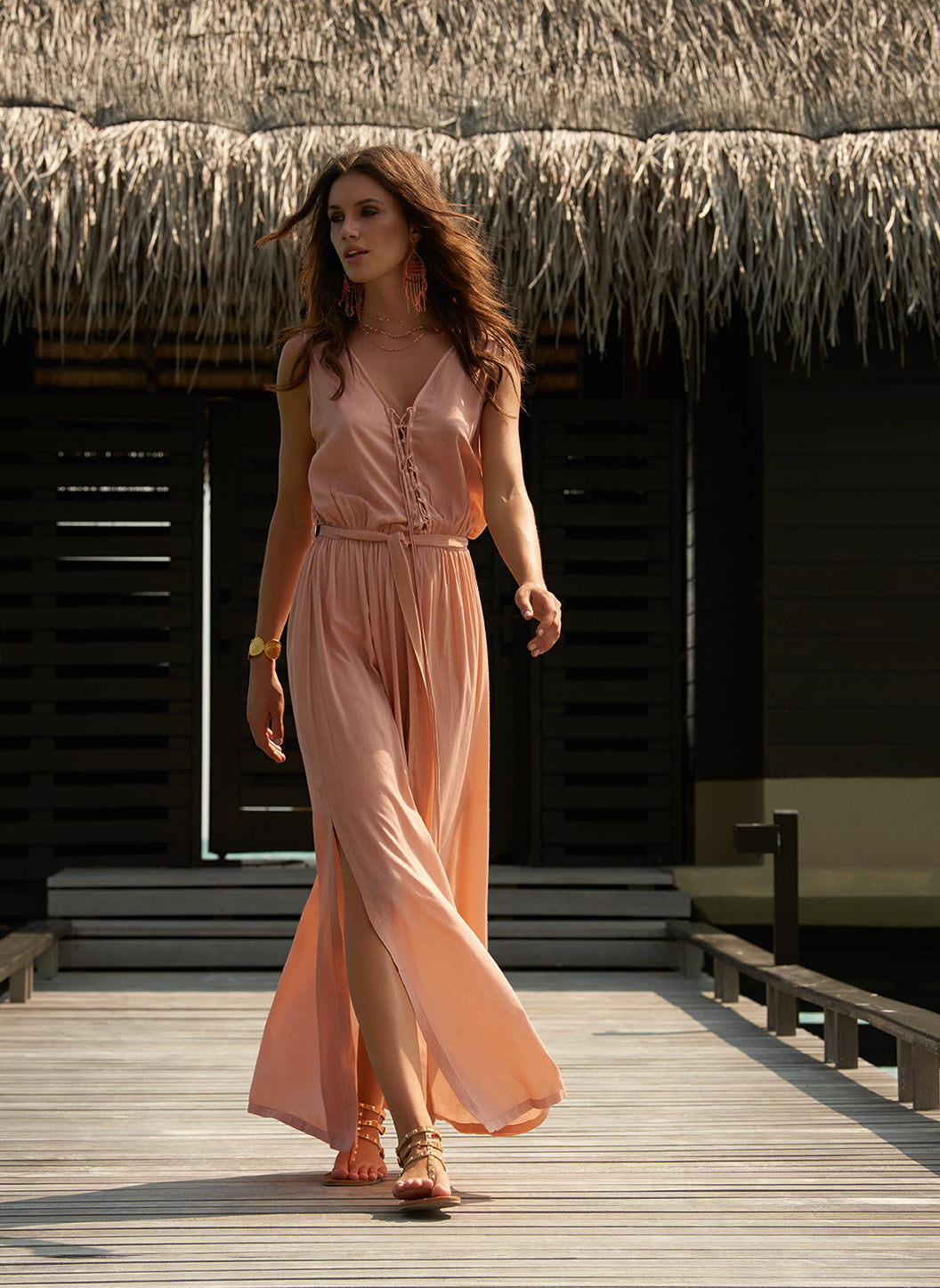 Jacquie Tan Lace-Up Belted Maxi Dress - Melissa Odabash Dresses & Kaftans