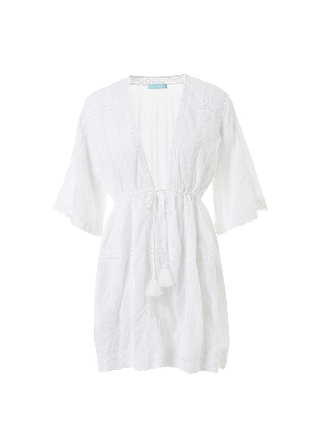 Jade White V-Neck 3/4 Sleeve Beach Dress - Melissa Odabash Beachwear