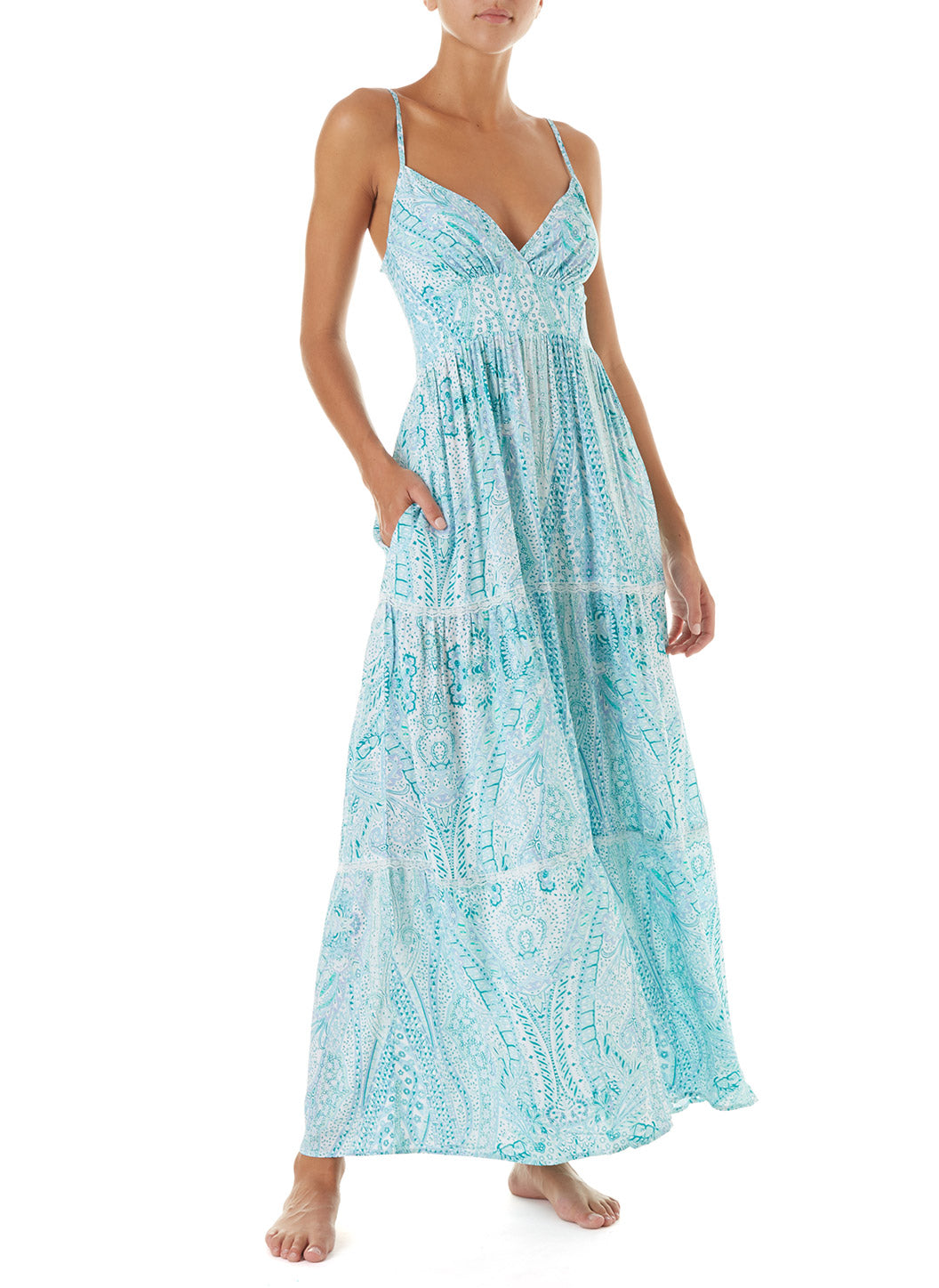 Jamie Paisley Empireline Maxi Dress  - Melissa Odabash New Arrivals
