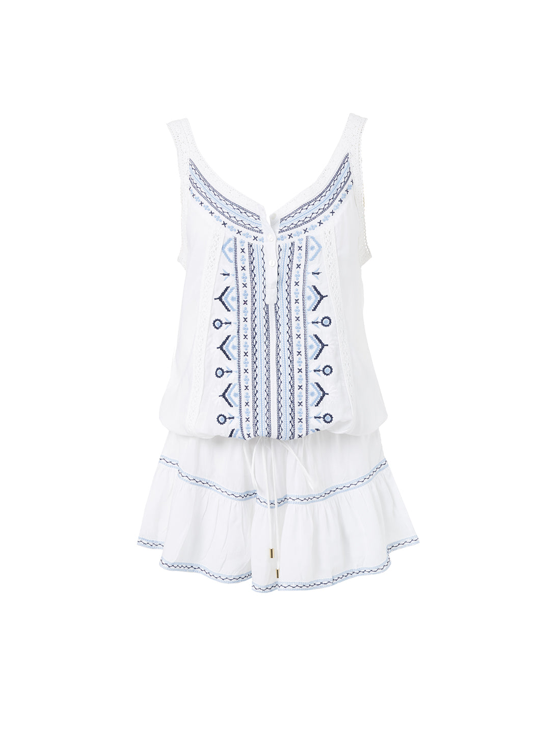 Jaz White/Blue Embroidered Over The Shoulder Short Beach Dress  - Melissa Odabash Beachwear