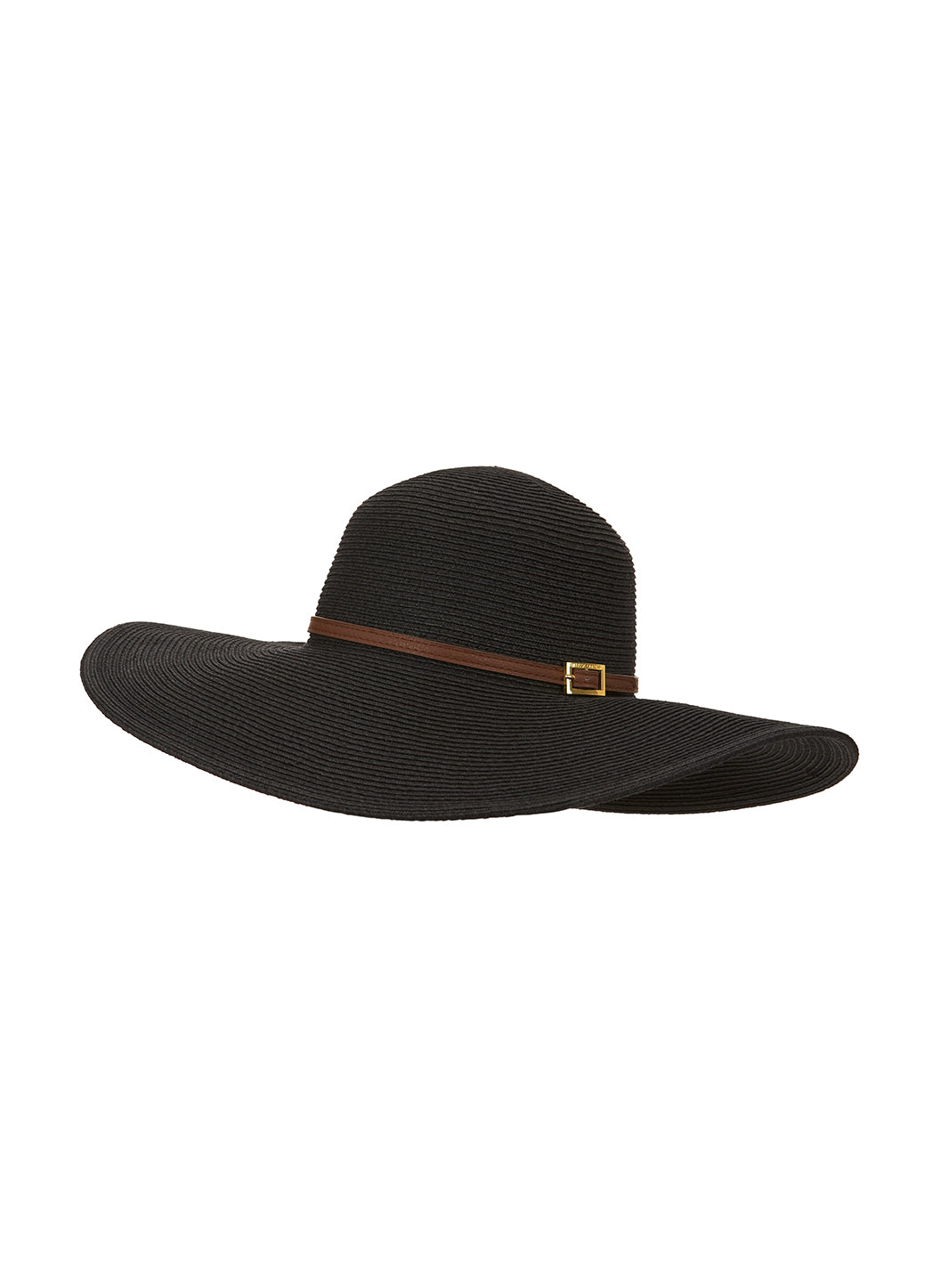 Jemima Wide Brim Beach Hat Black