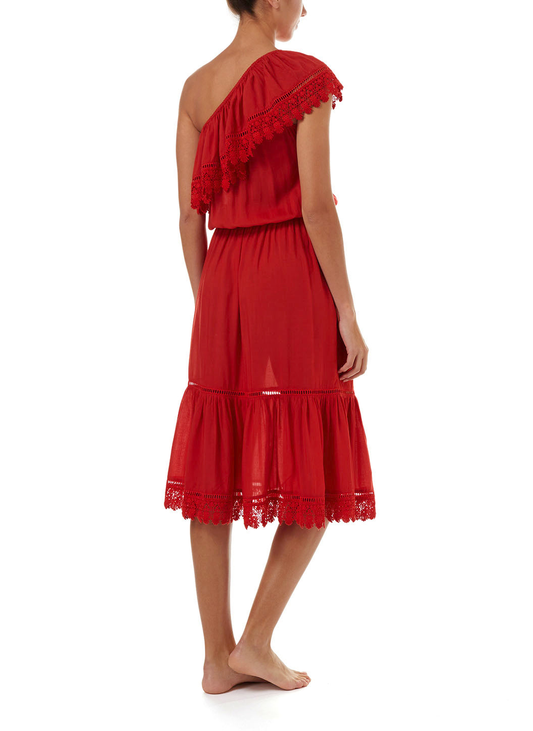 Jo Red One Shoulder Embroidered Frill Midi Dress