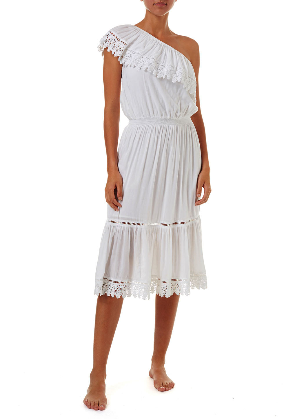 Jo White One Shoulder Embroidered Frill Midi Dress