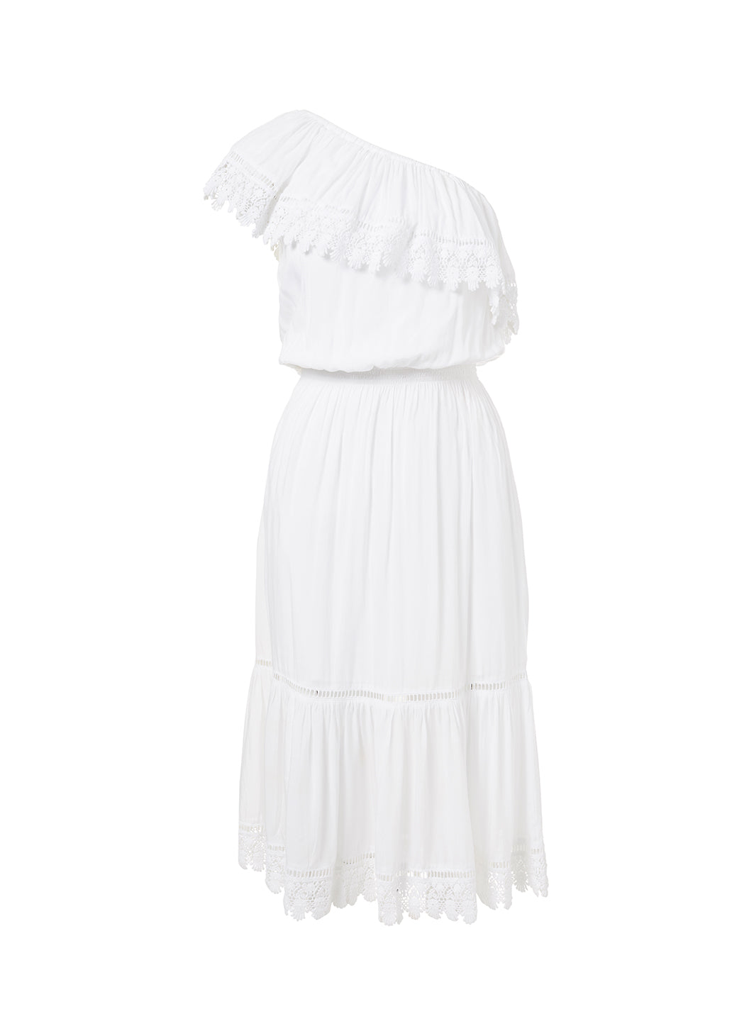 Jo White One Shoulder Embroidered Frill Midi Dress - Melissa Odabash Beachwear