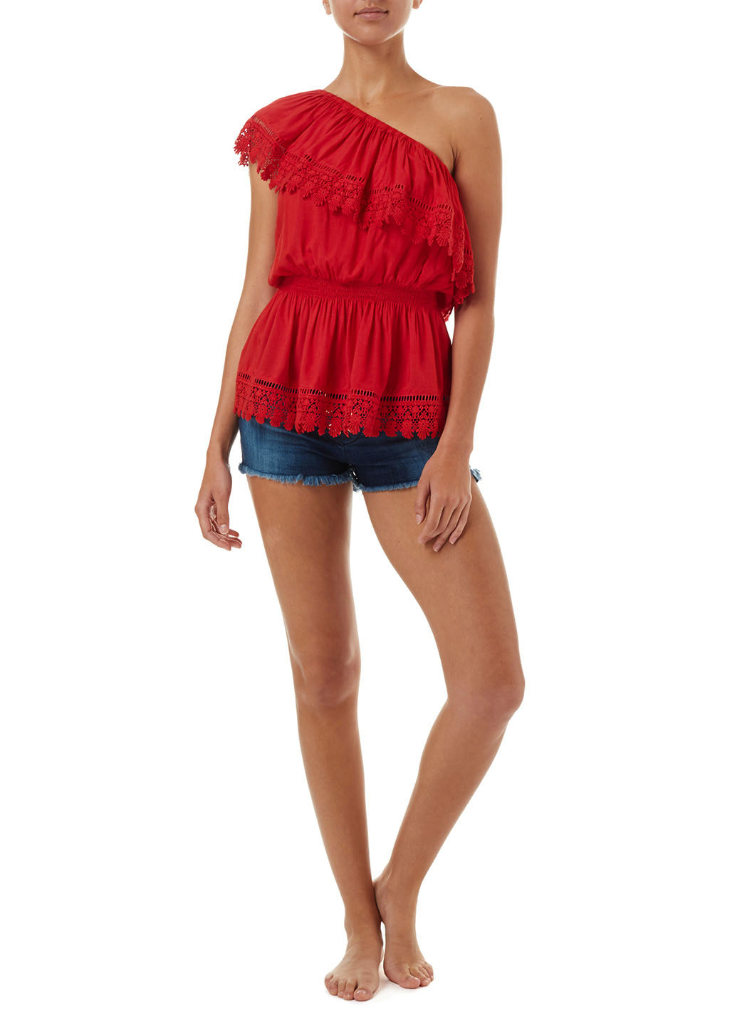 Joanna Red One Shoulder Embroidered Frill Top