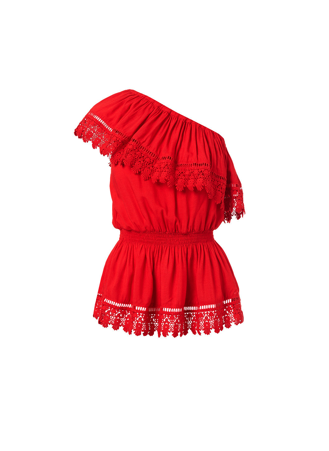 Joanna Red One Shoulder Embroidered Frill Top - Melissa Odabash Tops & Bottoms