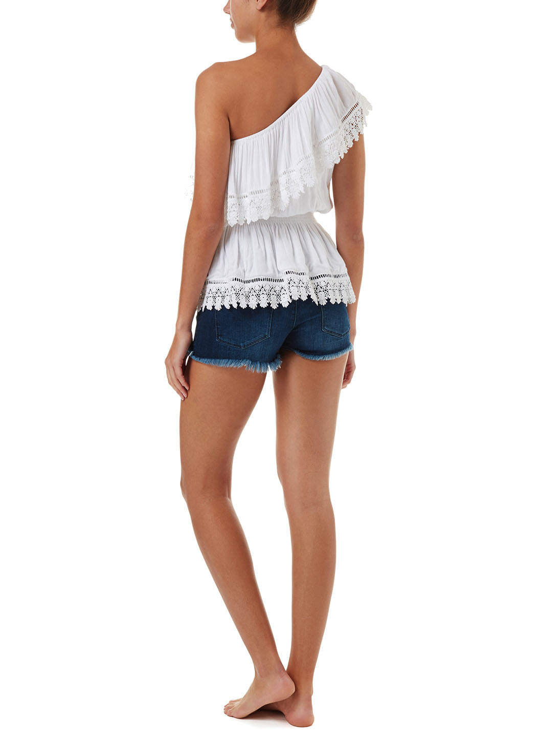 Joanna White One Shoulder Embroidered Frill Top
