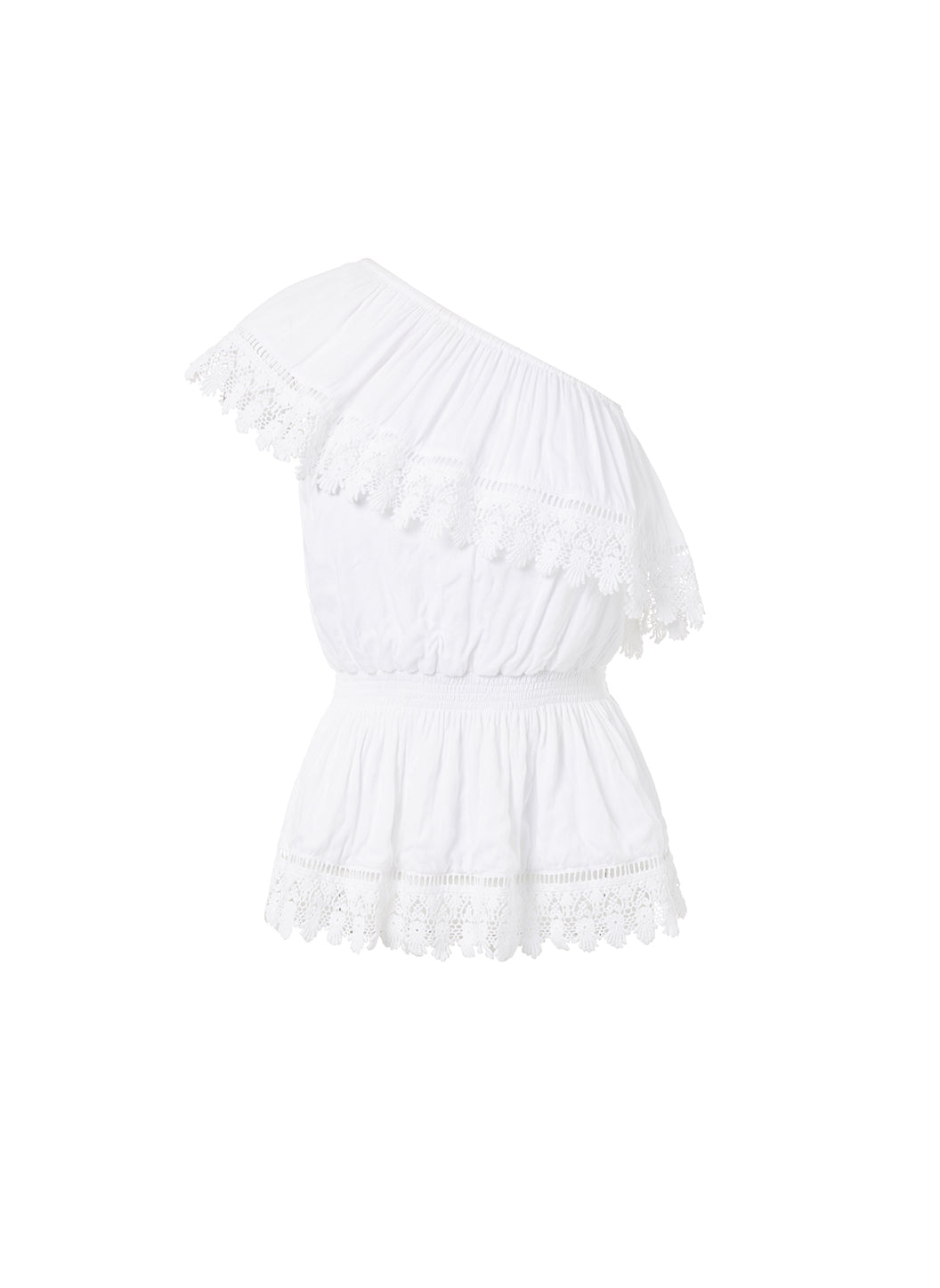 Joanna White One Shoulder Embroidered Frill Top  - Melissa Odabash Beachwear