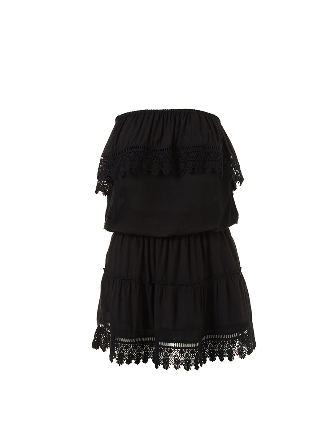 Joy Black Bandeau Embroidered Frill Short Dress - Melissa Odabash Beachwear