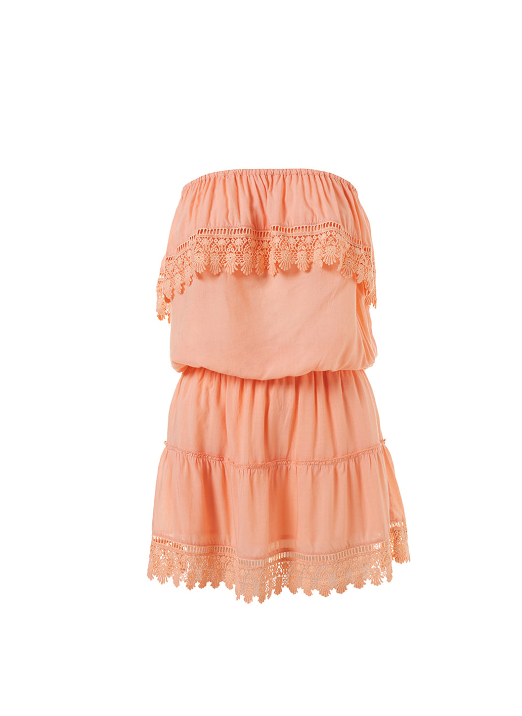 Joy Mango Bandeau Embroidered Frill Short Dress - Melissa Odabash Beachwear
