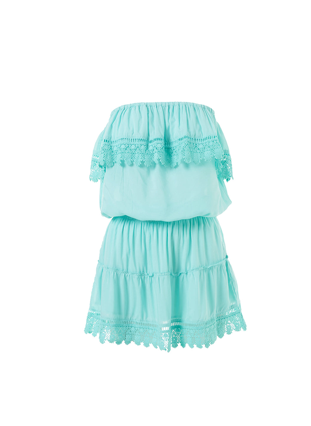 Joy Sky Bandeau Embroidered Frill Short Dress