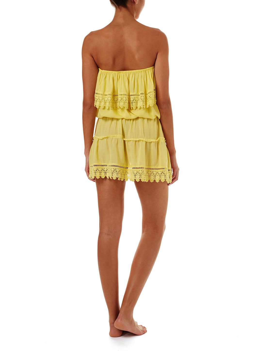 Joy Yellow Bandeau Embroidered Frill Short Dress