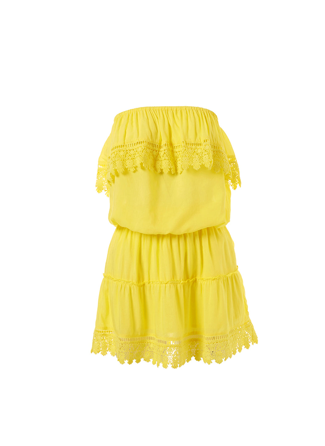 Joy Yellow Bandeau Embroidered Frill Short Dress - Melissa Odabash Dresses & Kaftans