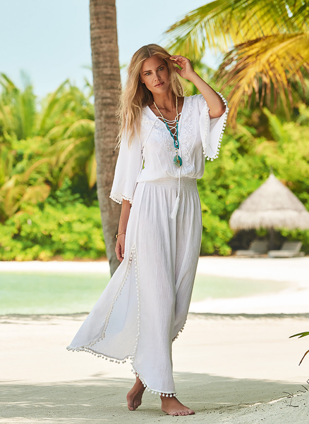 Kari White Lace-Up Embroidered Long Dress - Melissa Odabash Dresses & Kaftans