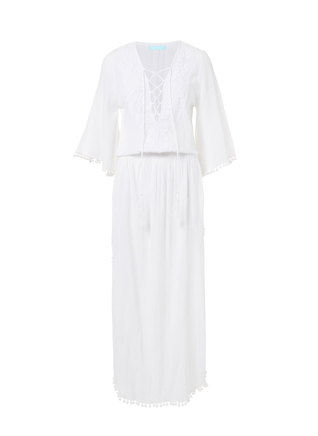 Kari White Lace-Up Embroidered Long Dress - Melissa Odabash Beachwear