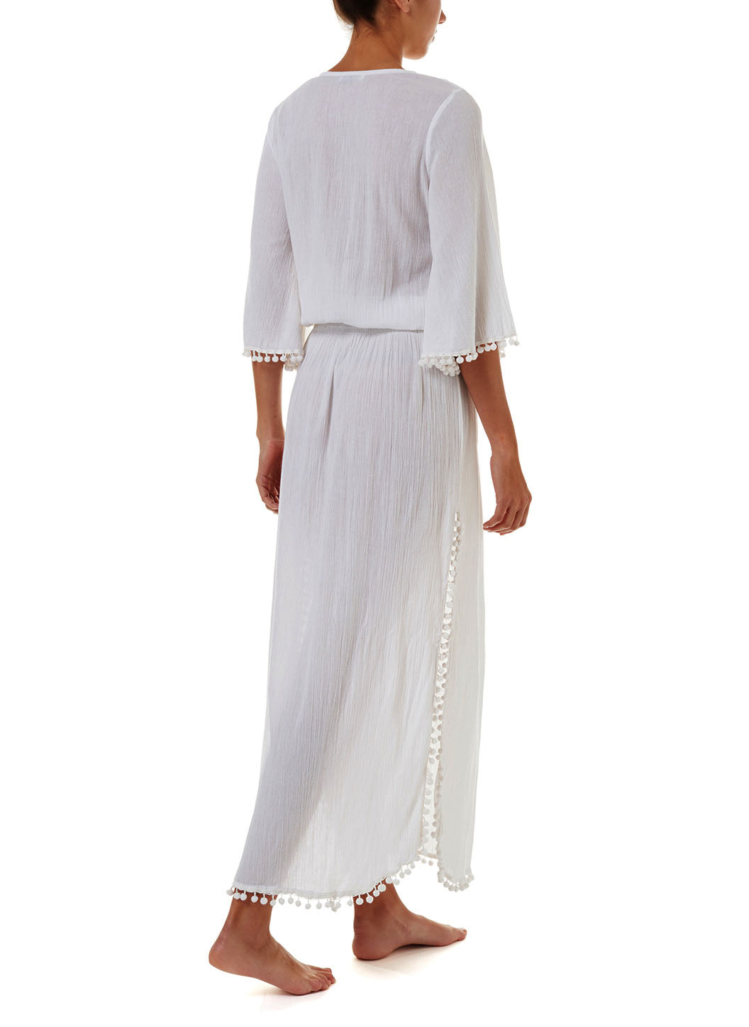 Kari White Lace-Up Embroidered Long Dress