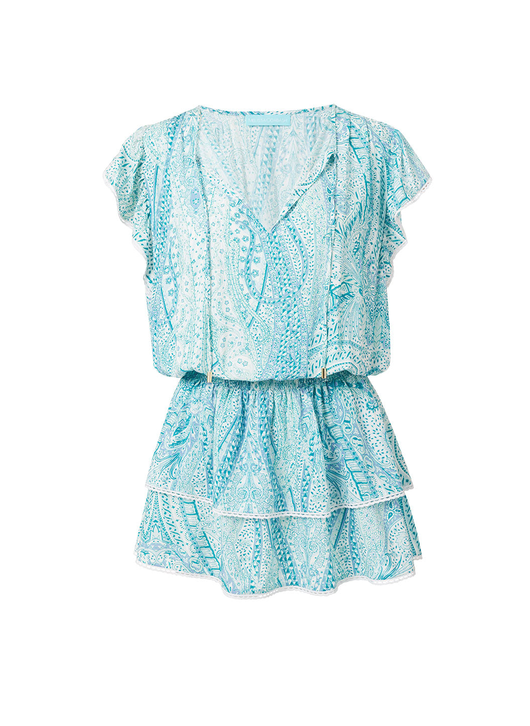 Keri Paisley Short Frill Beach Dress - Melissa Odabash Beachwear