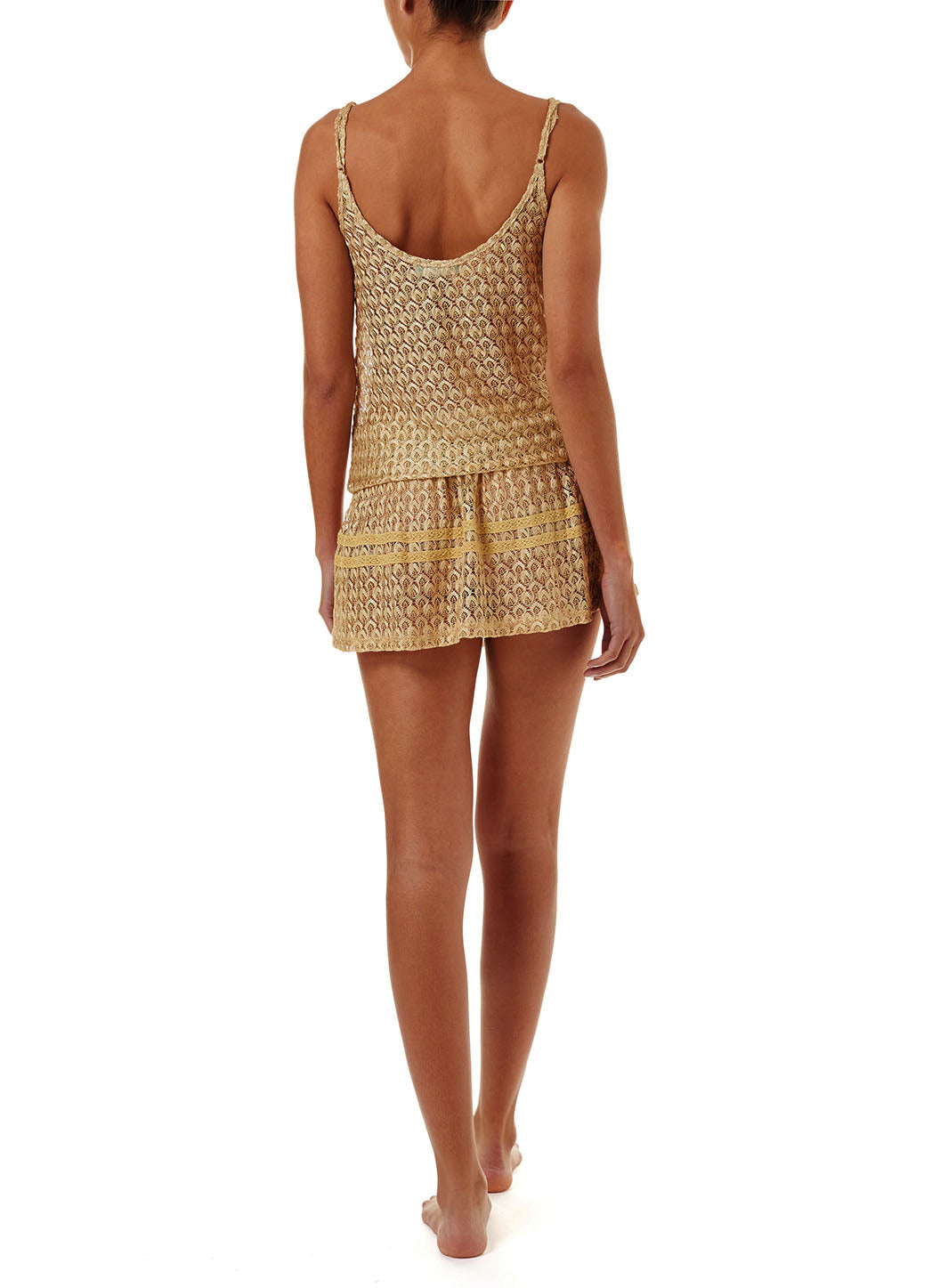 Khloe Gold Knit Over The Shoulder Dress