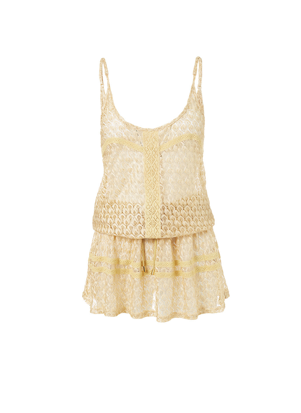 Khloe Gold Knit Over The Shoulder Dress - Melissa Odabash Beachwear
