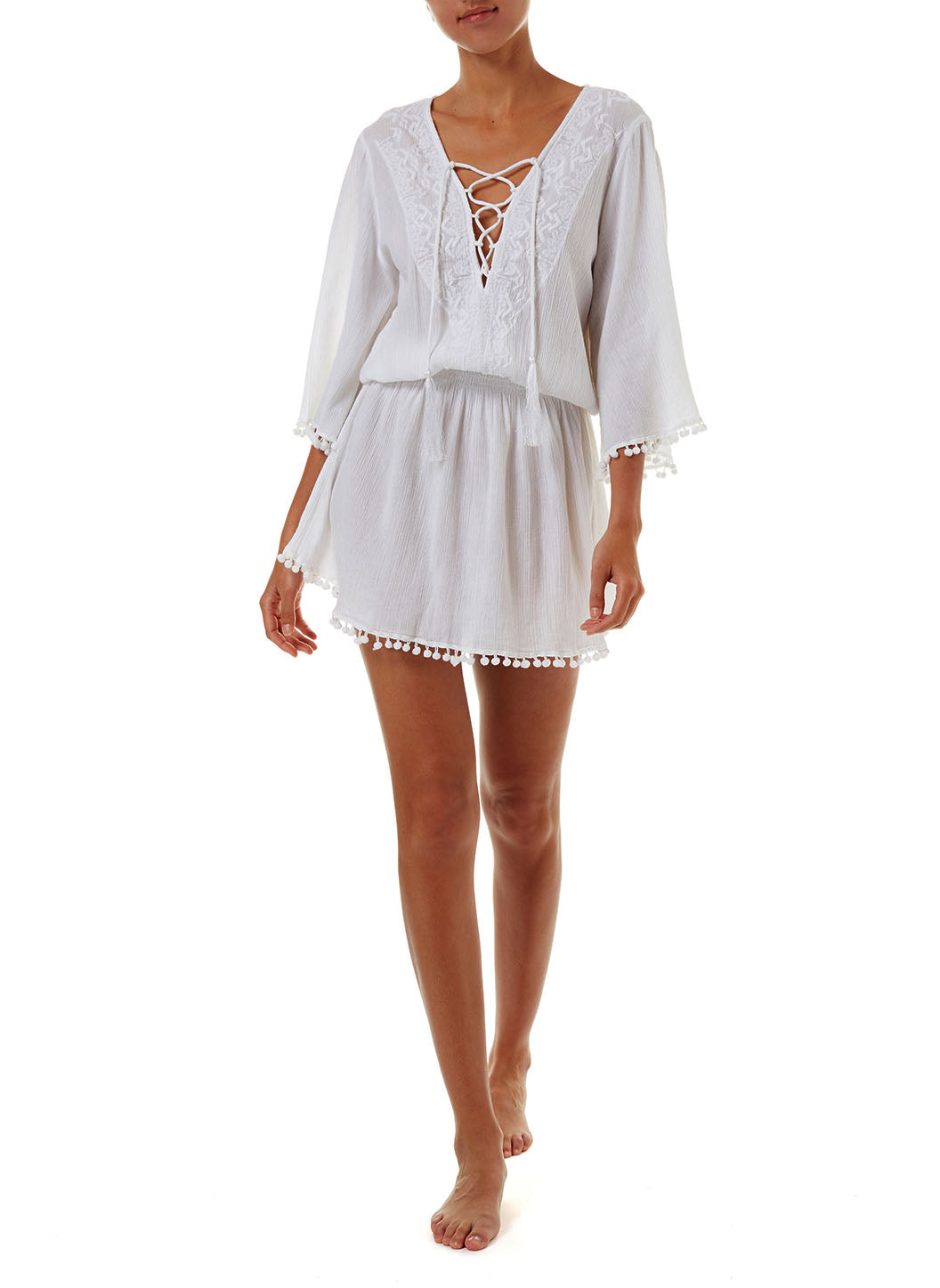 Kiah White Lace-Up Embroidered Short Dress