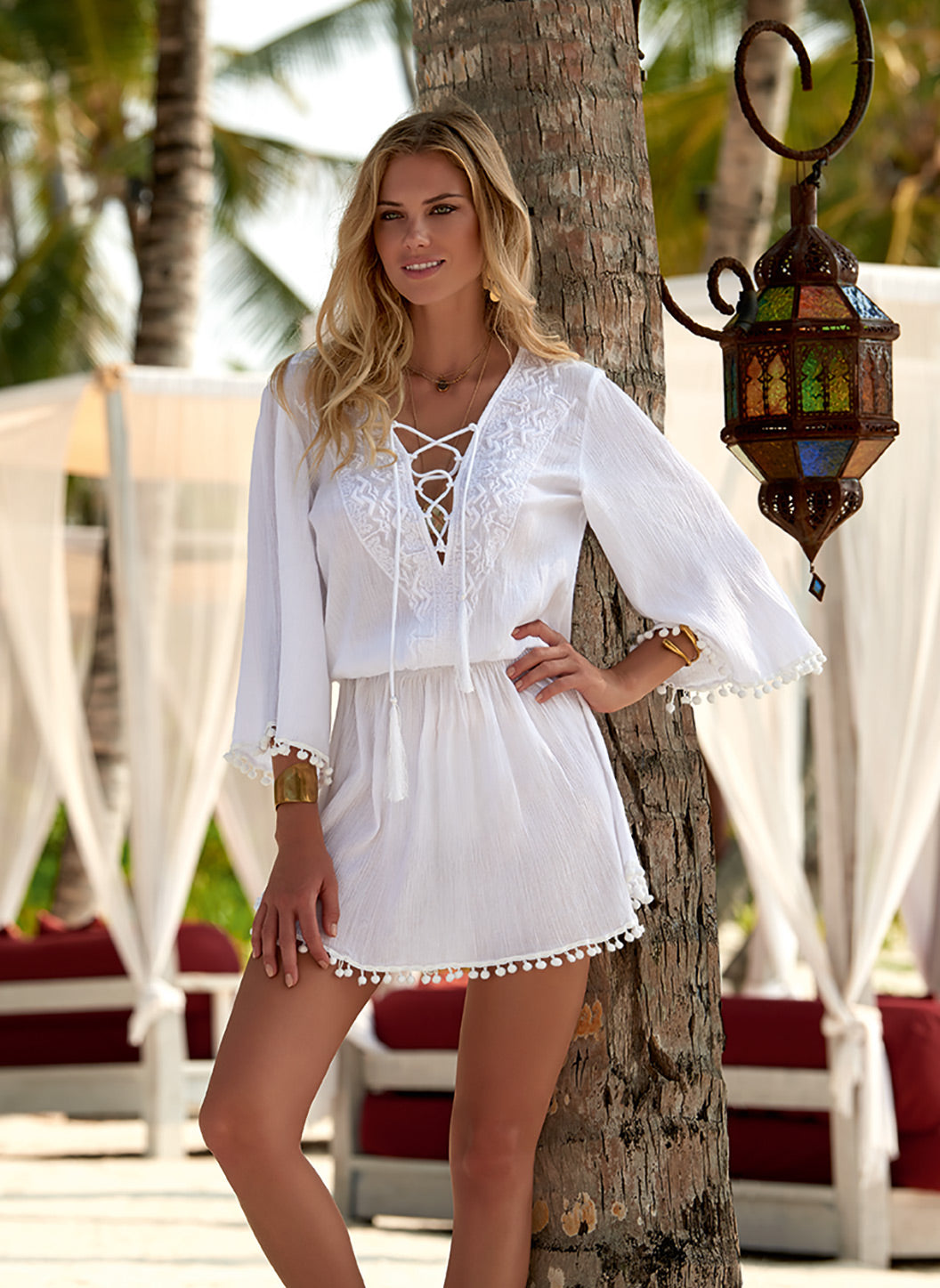 Kiah White Lace-Up Embroidered Short Dress - Melissa Odabash Beach Dresses