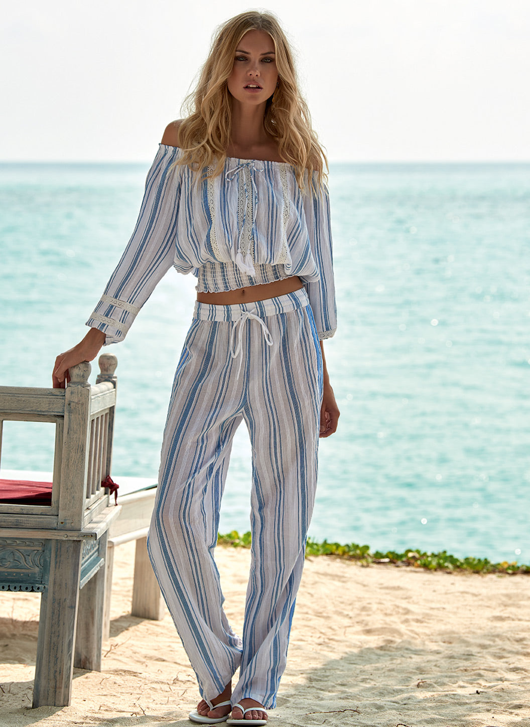 Krissy Blue Stripe Straight Leg Trouser - Melissa Odabash Beach Trousers