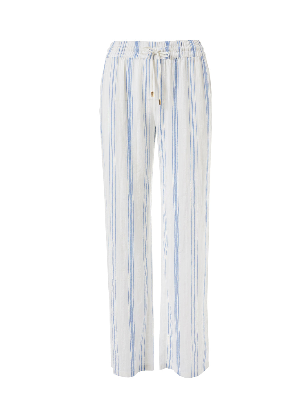 Krissy Blue Stripe Straight Leg Trouser - Melissa Odabash Tops & Bottoms