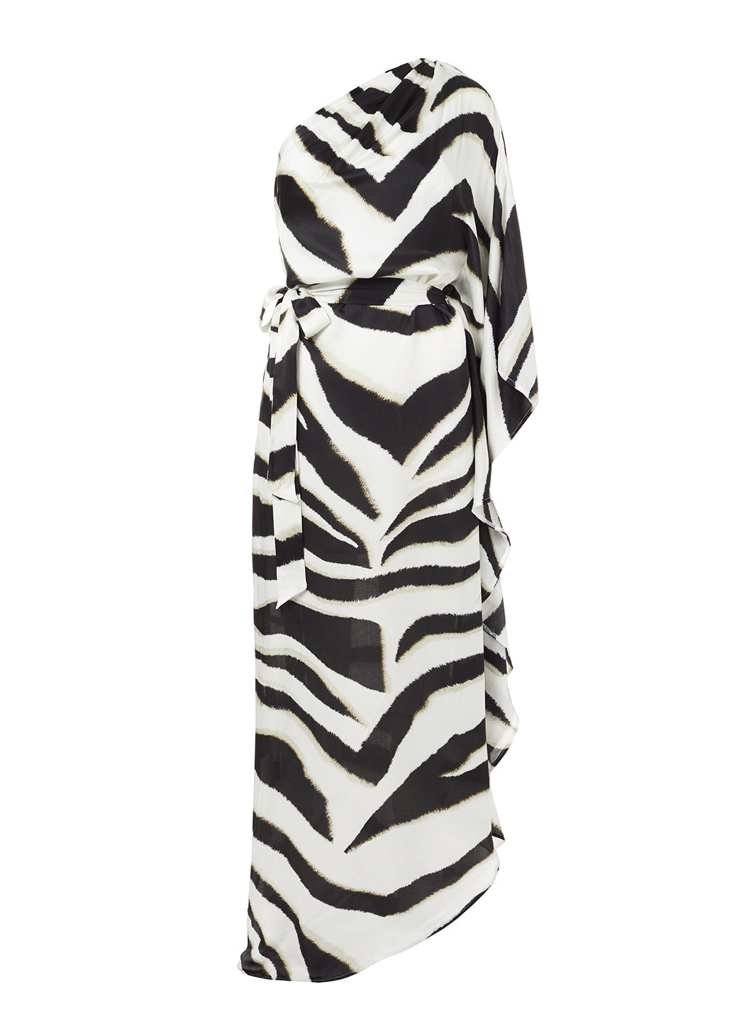 Lauren Zebra One Shoulder Belted Floor Length Dress