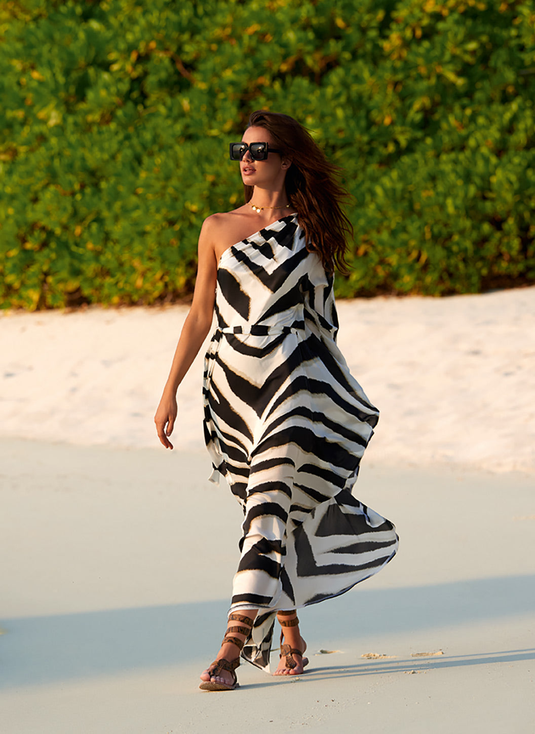 Lauren Zebra One Shoulder Belted Floor Length Dress - Melissa Odabash Beachwear