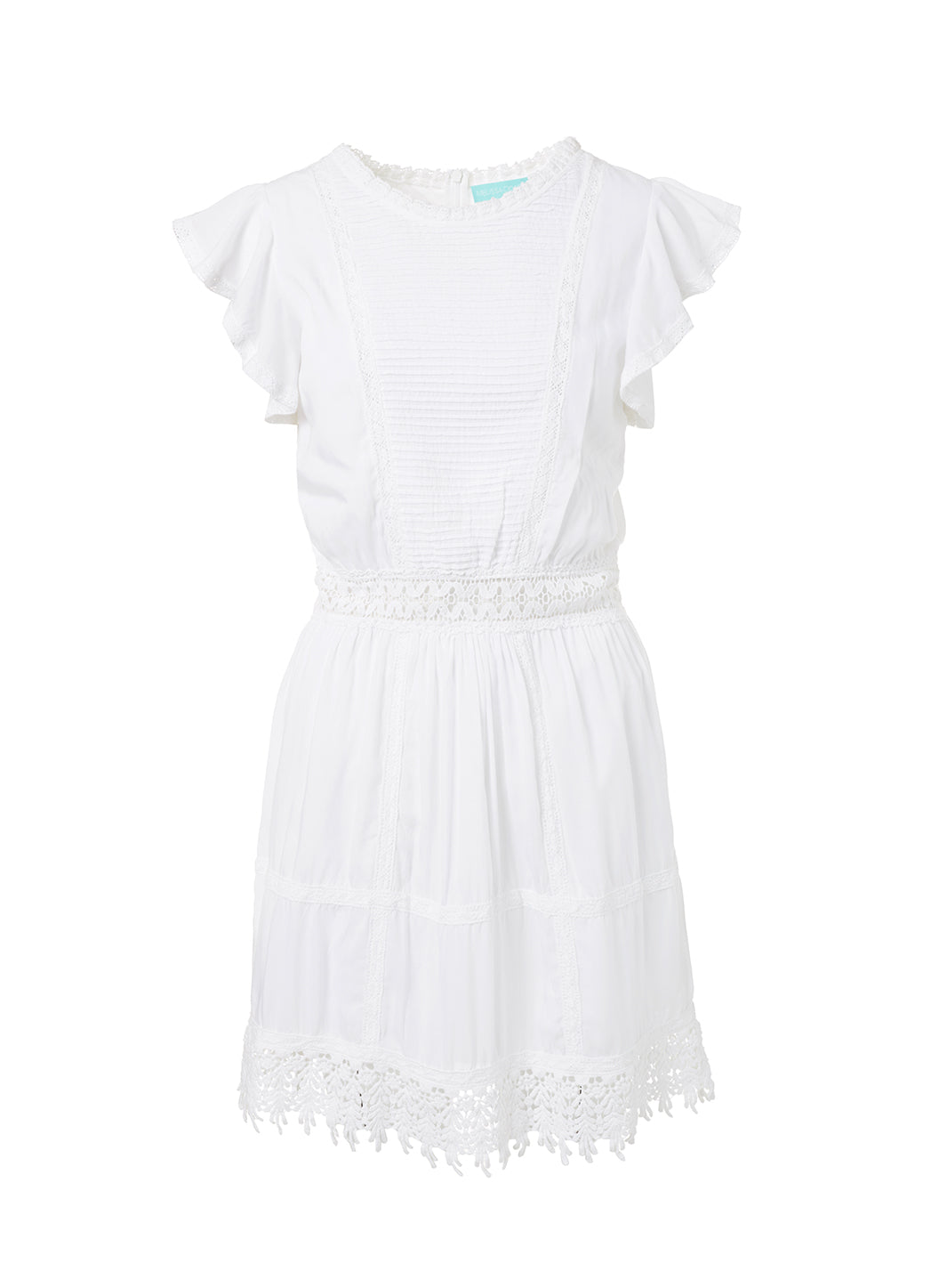 Loretta White High Neck Short Tea Dress - Melissa Odabash Beachwear